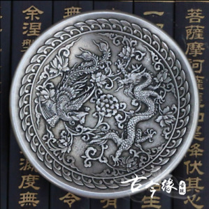 China Old Hand Carved Tibetan Silver Longfeng Plate