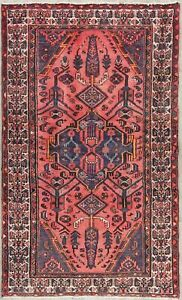 Vintage Geometric Tribal Pink Oriental Persian Hand Knotted Wool Area Rug 4x6