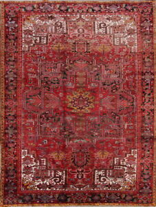 Vintage Geometric Persian Oriental Heriz Hand Knotted Wool Area Rug 9x12 Red