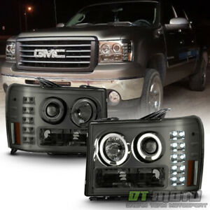 Smoked 2007 2013 Gmc Sierra 1500 2500hd Led Angel Eye Halo Projector Headlights