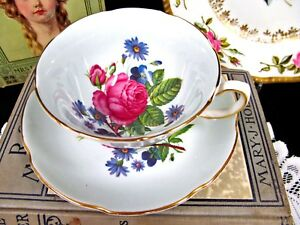 Royal Grafton Tea Cup And Saucer Blue Floral Rose Teacup Wide Mouth