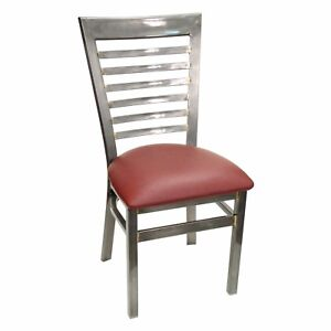 New Gladiator Clear Coat Full Ladder Back Metal Restaurant Chair W Wine Seat