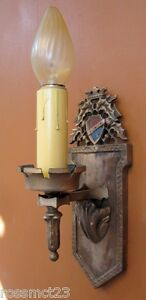 Vintage Lighting Antique Pair 1920s Thistle Tudor Style Sconces