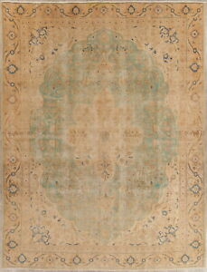 Antique Muted Aqua Green Gold Persian Oriental Hand Knotted Distressed Rug 9x12