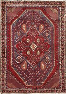 Vintage Geometric Tribal Sirjan Persian Oriental Hand Knotted 5x7 Wool Red Rug