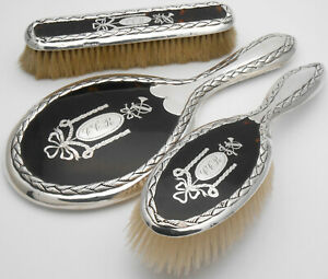 Sterling Silver Pique Brush Mirror Set London 1912 13 Antique
