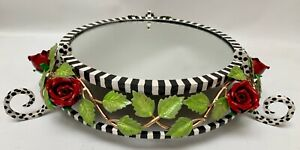 Whimsical Hand Painted Tole Round Vanity Mirror Tray Stand Roses Leaves Stripes