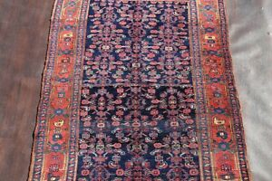 Antique One Of A Kind Bijar Persian Oriental Hand Knotted 5x8 Navy Blue Wool Rug