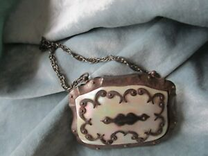 Antique Mother Of Pearl Metal 19c Ladies French Purse Name Plate Is Soubenir