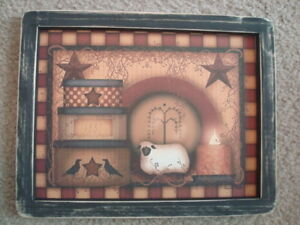 Primitive Country Print 3 Stacked Boxes With Sheep Black Frame 12 X 9 1 2