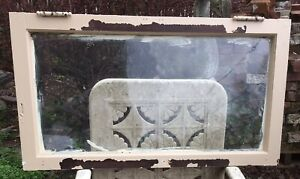 1900s Antique Transom Window 36 X 20 Wood Frame Glass All Original W Hinges