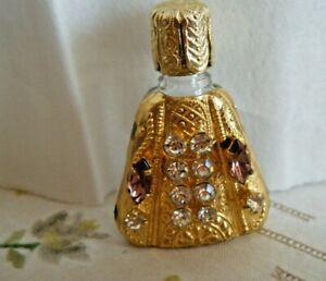 Old Vtg Purs Perfume Bottle Jeweled Press Glass 1 2 Encast Gold Jacket W Germany