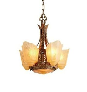 Vintage Moe Bridges Slip Shade Chandelier