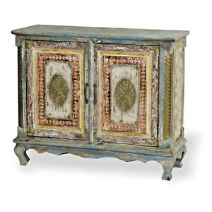 Rustic Indian Cabinet Bedside Tv Stand Reclaimed Wood W Iron And Brass Patina