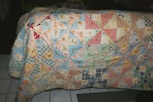 Vintage Antique Quilt Patchwork Pinwheel Soft Pastel Colors 76 X 68