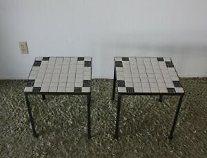 1960s Vintage Wrought Iron Tile End Tables Conover Tony Paul Mid Century Modern
