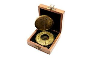 Sundial Compass Marine Maritime Thread Brass Collectible Compass With Wooden Box
