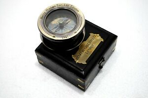 Brass Slide Out Compass Flip Out Magnifier Paper Weight Compass W Leather Case