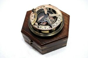 Ross London Brass Antique Sundial Compass Steampunk Solid In Fitted Wooden Box