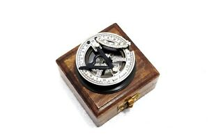 Sundial Compass Gilbert Directional Compass With Wooden Box Antique Marine Gift