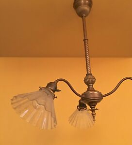 Vintage Lighting Two Circa 1900 Early Electric Pendants