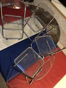 Set Of 4 Vintage Mid Century Modern Chrome Lucite Clear Folding Chairs See Desc