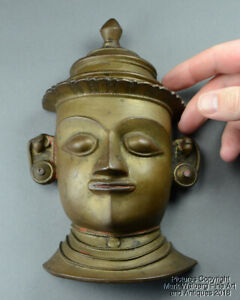 Small India Indian Bronze Mask With Hat Hand Chased Features 19th Century