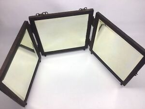 Antique P Weiderer Pat Oct 20 85 Trifold Folding Mirror