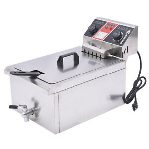 Commercial Restaurant Electric 11 7l Deep Fryer Stainless Steel W Timer Drain