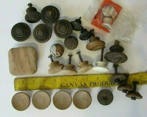 25 Lot Vtg Antique Wooden Round Cabinet Knob Drawer Pull Hardware Reclaimed