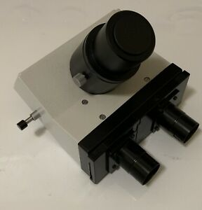Leitz Trinocular Microscope Head With Camera Port Adapter 43mm Dovetail Fitting