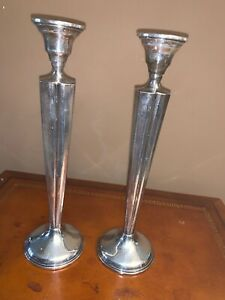 Art Deco Otto Reichardt Signed Sterling Silver Candlesticks Antique Ny 10 Tall