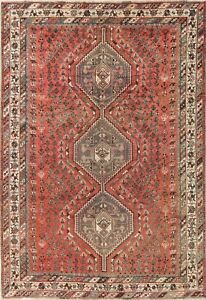 Antique Geometric Qashqai Persian Oriental Hand Knotted 7x10 Tribal Wool Rug