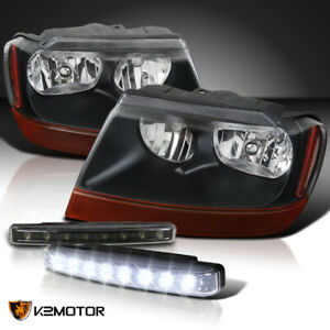 99 04 Jeep Grand Cherokee Black Headlights Pair 4w 8 led Black Drl Fog Lamps