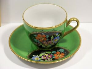Hand Painted Floral By B Kramlik Green Tea Cup And Saucer Japan