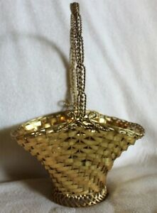 Vintage French France 521 Gold Plate Weave Wire Basket