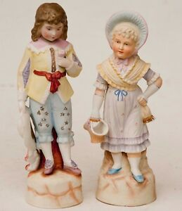 Antique Large German Bisque Porcelain China Pair Figurines Statues Boy Girl