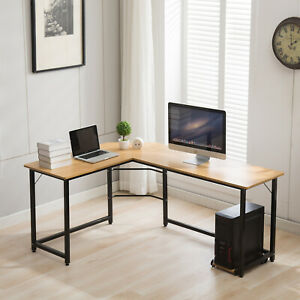Corner Desktop Computer Desk Study Writing Table Office Home L Shape Adjust