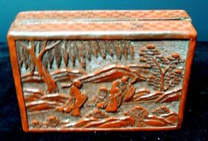 Large Antique Decorative Chinese Cinnabar Etched Rectangle Box