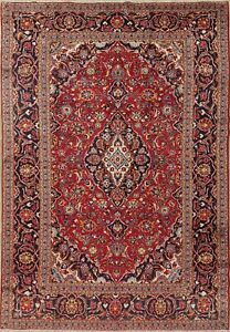 Vintage Traditional Floral Persian Oriental Hand Knotted Wool 8x12 Red Area Rug
