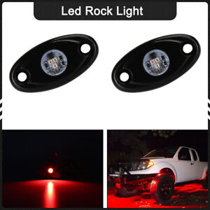 2x Cree Red Led Rock Light Offroad Under Wheel Lamp For Atv Truck Jeep Trail 12v