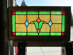 Antique Stained Glass Transom Window With Flower 30 X 16 Salvage