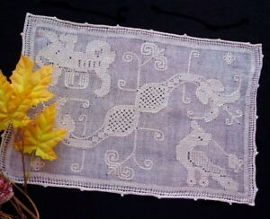 6 Placemats Antique Italian Handmade Figural Pulled Thread Lace Dragons Lions