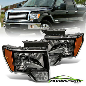 Anti Fog 2009 2014 Ford F 150 Pickup Polished Black Factory Style Headlights
