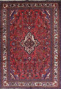 Special Price Ruby Red Hamedan Persian Vintage Hand Knotted 7 X10 Wool Area Rug