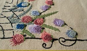 Antique Pillow Cover Heavy Linen W Great Embroidery 21x19 Raised Flowers
