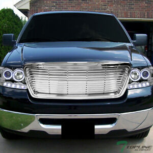 Topline For 2004 2008 Ford F150 Horizontal Front Hood Bumper Grille Chrome