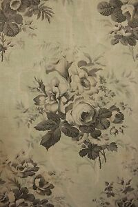 Curtain Antique French Printed Chintz Cotton Fabric Mint Green Floral Circa 1850