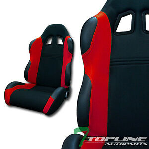 Ts Sport Blk red Cloth Fabric Car Reclinable Racing Bucket Seats sliders L r T01