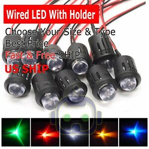 3mm 5mm 8mm 10mm Pre Wired Led Holder Dc9 12v Diffused Lights Emitting Diodes